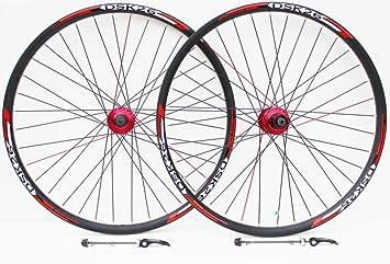 Rueda de 26 pulgadas para bicicleta de montaña roja hubs y calcomanías disco freno sólo ruedas, ...