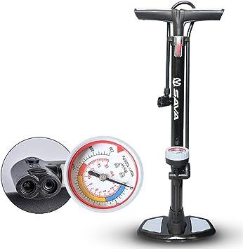 HAO Bombas de pie para Mini Bombas de Bicicleta en la Carretera y el hogar, con manómetro Presta y válvula Schrader compatibles. con Soporte Plegable para Bicicleta de Carretera: Amazon.es: Deportes y