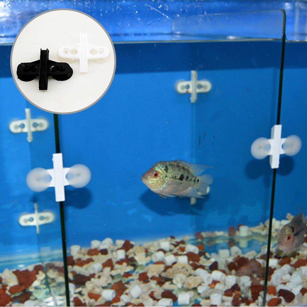 Separador de pl/ástico con ventosa para acuario o pecera 5 unidades color negro 5 unidades blanco