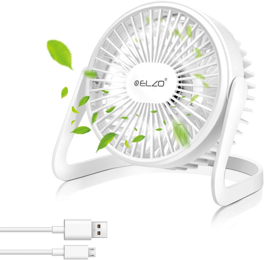 ELZO Ventilador USB, Mini Ventilador de Sobremesa Silencioso Giratorio de Dos Velocidades de 360 °, Ventilador de Escritorio Portátil para Hogar y Oficina (Blanco)