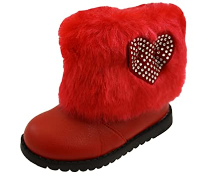 178f29d4a Surf4Shoes Infant Baby Girls Pink Black Red White Winter Fur Snow ...