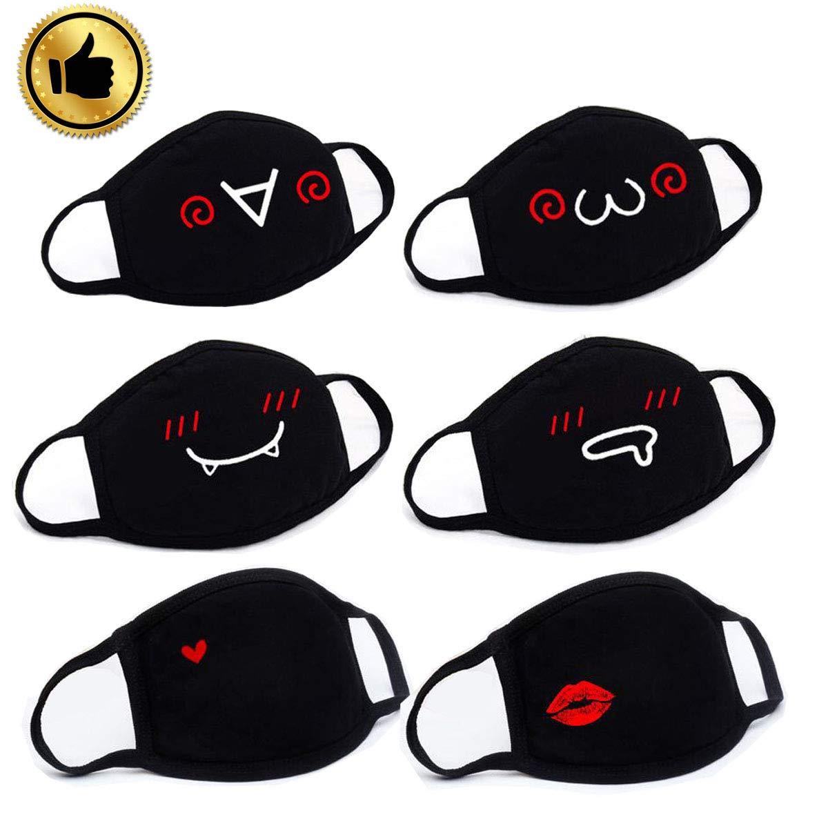 6 Paquets Masque Bouche Coton, Anti-Poussiè re Masque,Bicyclette Masque, Kawaii Chaud Masque, Face Mask Pour Unisexe Homme Femme (Noir) Anti-Poussière Masque Goosky