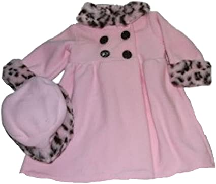 Good Lad Toddler /& 4//6X Girls Pink Double Breasted Fleece Coat with Animal Fur Trim and Matching Hat