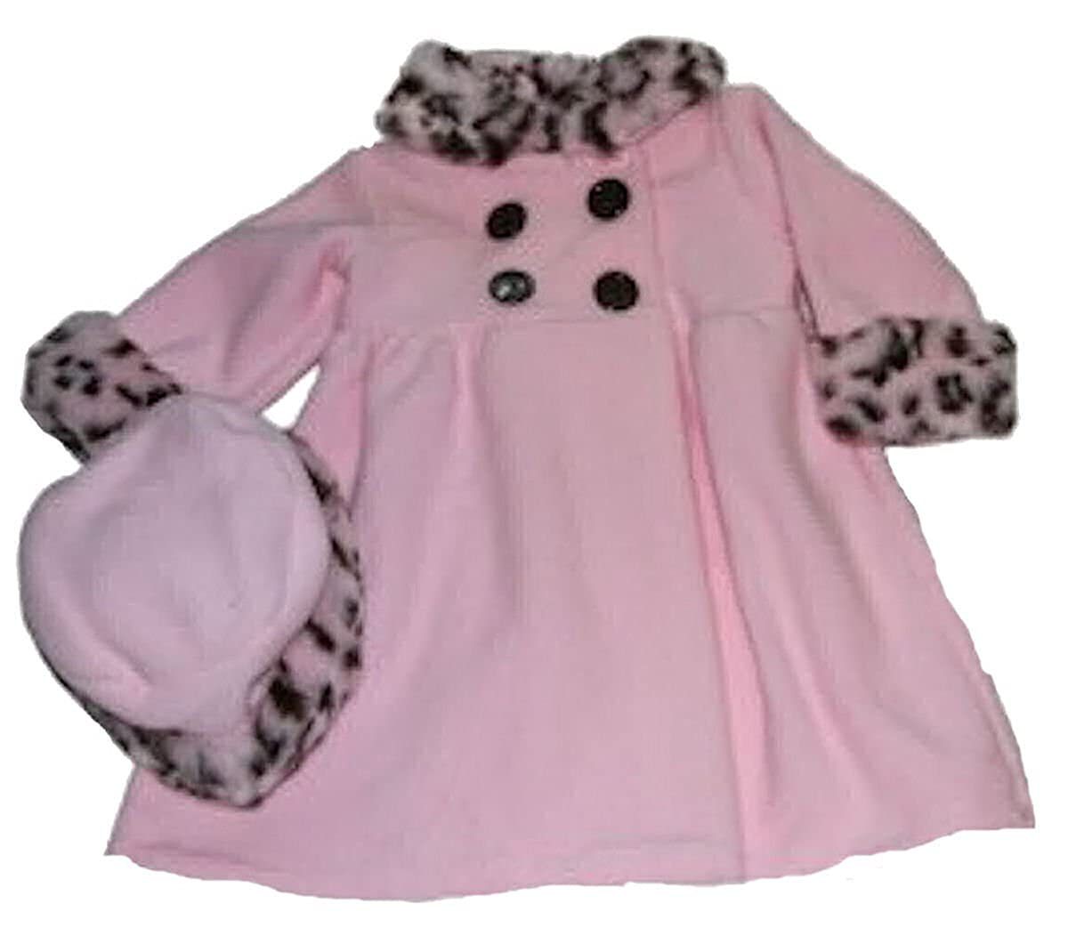 Baby-girls Pink Fleece Coat and Hat with Faux Fur Trim 101769