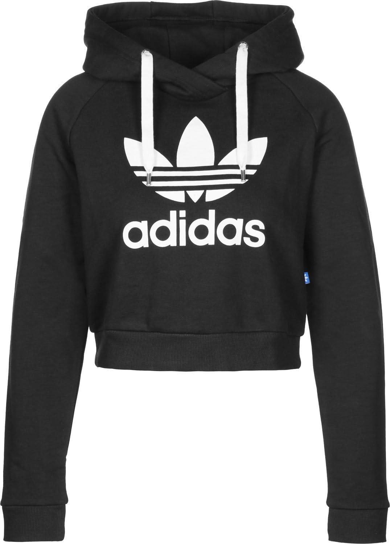 adidas Trefoil Crop Sweat Shirt à Capuche Femme, Noir, FR