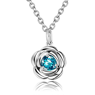 Carleen 925 Sterling Silver Genuine Round Cut Topaz Rose Flower/Twist Pendant Necklaces for Women Girls xGxJY0