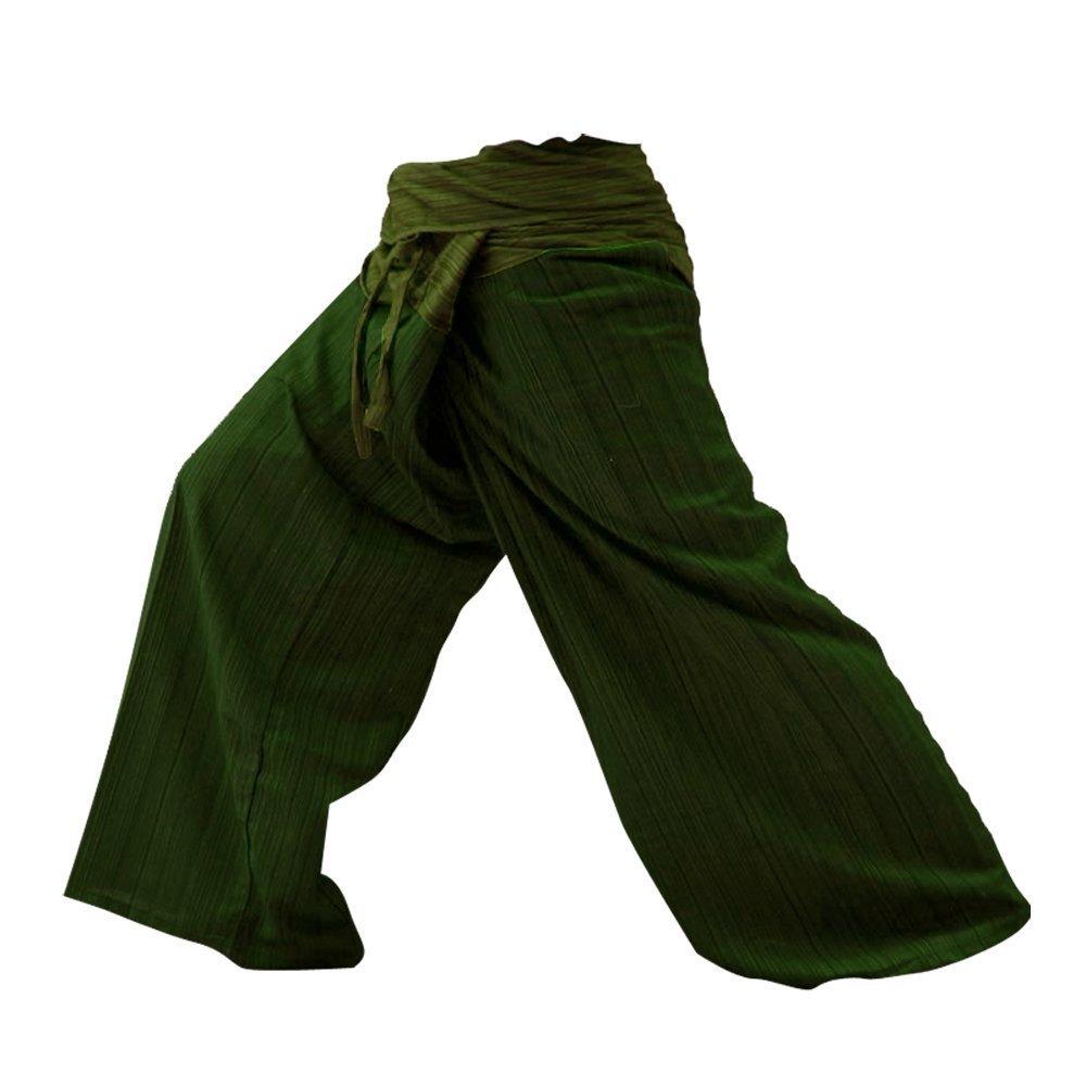 2 Tone Thai Fisherman Pants Yoga Trousers Free Size Cotton Gray and Charcoal ThaiMart