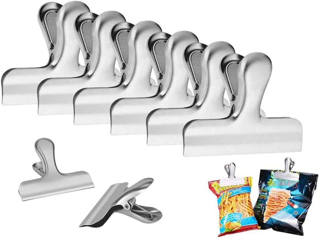 Chip Bag Clips,Kissmi 8 Pack Stainless Steel Clips Grips, for Kitchen Office to Seal Coffee Food Bags,Paper Sheets (3 inch Width)