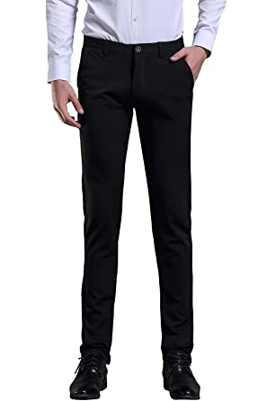 FLY HAWK Mens Dress Pants, Solid Plain Pants, Wrinkle-free Slim ...