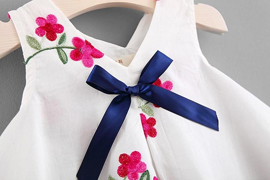 Kehen Newborn Baby Girls Floral Print Embroidery Party Dress with Bowknot Summer Sleeveless Mini Dresses