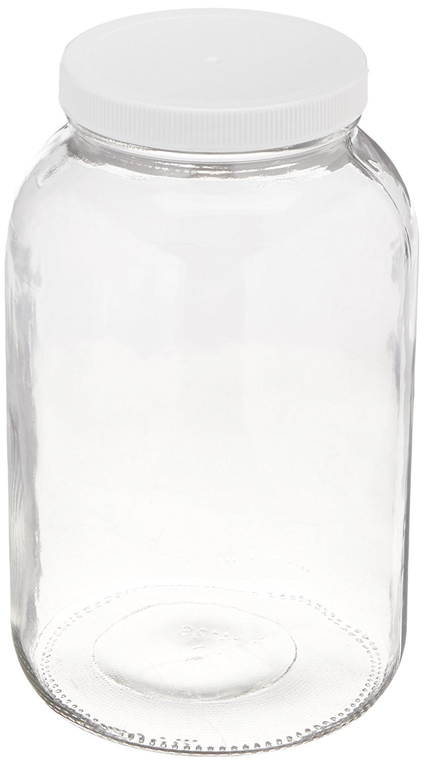 North Mountain Supply Nms A4128-C - 1 White Plastic Glass Wide-Mouth 110 CT Fermentation/Canning Jar with Plastic Lid, 1 gal, White