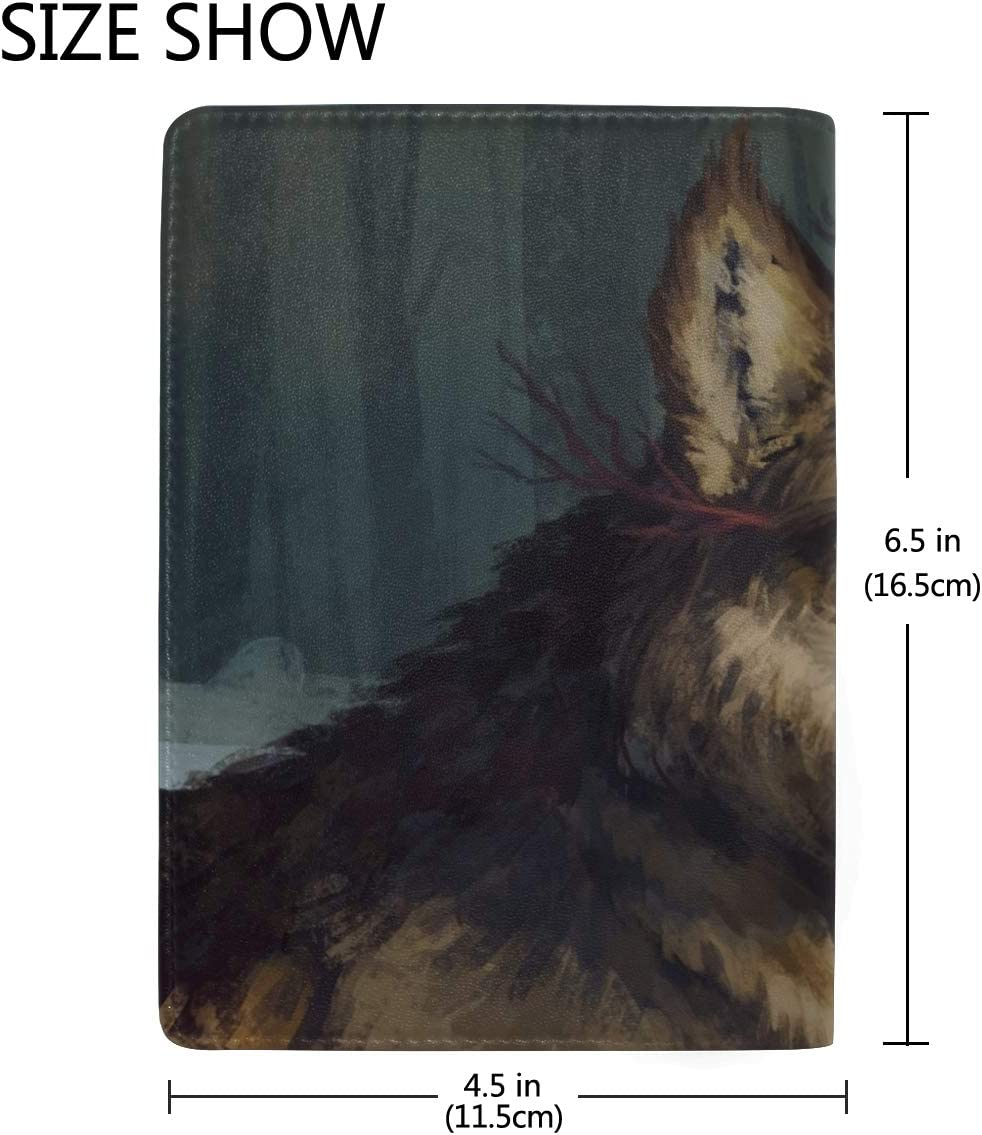 Wolf Art Muzzle Leather Passport Holder Cover Case Travel One Pocket