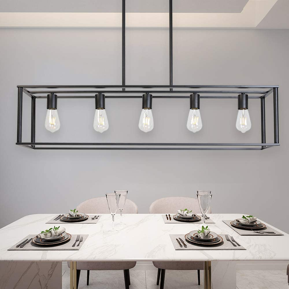 Lighting Ceiling Fans Vinluz Farmhouse Chandeliers 5 Light Black Dining Room Lighting Linear Contemporary Metal Pendant Light Large Industrial Rustic Hanging Ceiling Light Fixtures For Kitchen Island Foyer Bar Tools Home