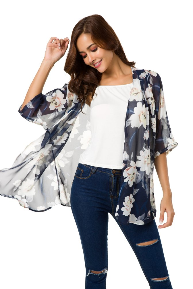NB Women's Short Sleeve Beachwear Sheer Chiffon Kimono Cardigan Solid Casual Capes Beach Cover up Blouse (L, Y-Blue Floral) by NB