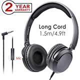 Avantree Superb Sound Wired Headphones with Microphone, 1.5M/4.9FT LONG CORD with Mic for Adults, School Students, Kids, On Ear Headsets for Computer, Laptop, iPad, Tablet, Phone - 026 Black