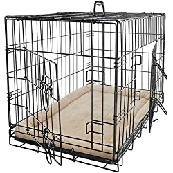 Steel Wire Metal Folding Dog Cat Cage With Bed Liner Mattress Cushion Dog Crate Kennel Removable Tray Size M With Ebook
