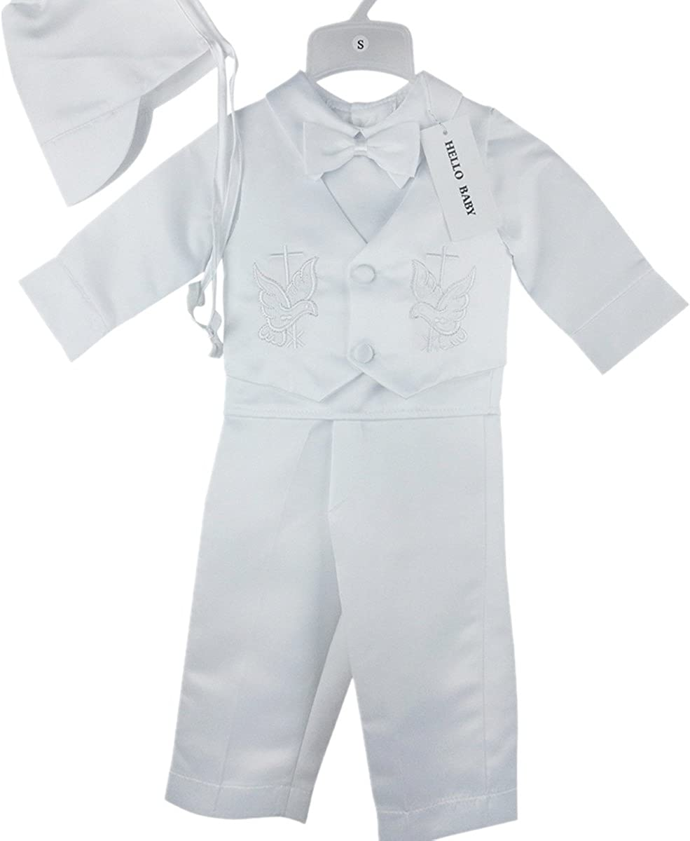 685B Hello Baby 4 Pcs Cross Embroidery Christening Outfit for Boys Newborn-2T