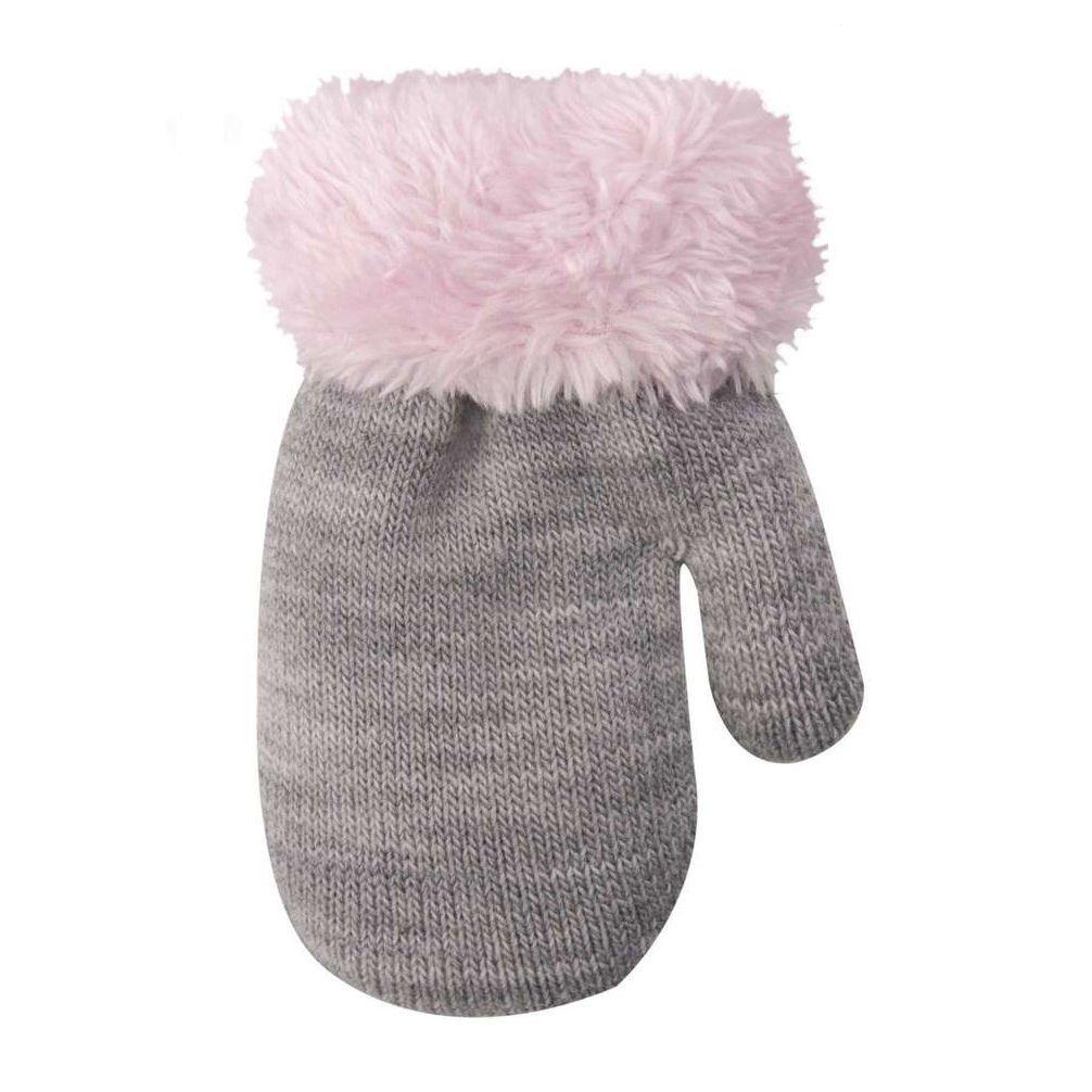 Baby Handschuhe Babyhandschuhe Winter Fäustlinge für Mädchen 12 cm mit Schnur grau