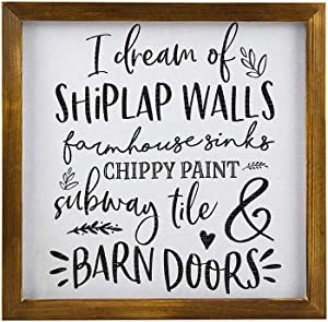 EricauBird Wood Sign, I Dream of Shiplap Walls Farmhouse Sinks Chippy Paint Subway Tile, Decorative Home Wall Art 12x12
