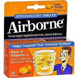 Effervescence Tabs, Zesty Orange, 10/BX, NA, Sold as 1 Box
