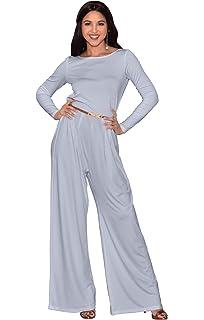 c1f42b69a79e KOH KOH Womens Long Sleeve Wide Leg Belted Formal Elegant Cocktail Jumpsuit  Blue