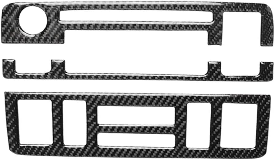 1999-2004 zroven Carbon Fiber Interior Instrument 3 pcs Dashboard Central Control Trim Frame Sticker Decorative Cover Replacement for BMW 3 Series E46 Dashboard Central Control