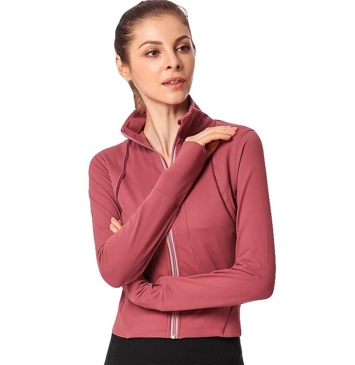 Junebao Sweatshirt Running Collar de pie Tops Elegante Flexible Ropa Fitness Secado rapido Ropa De Deporte Casual Mujer Sudadera para Primavera con Bolsillos