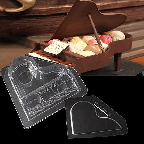 Molde para repostería, diseño de piano en 3D, transparente