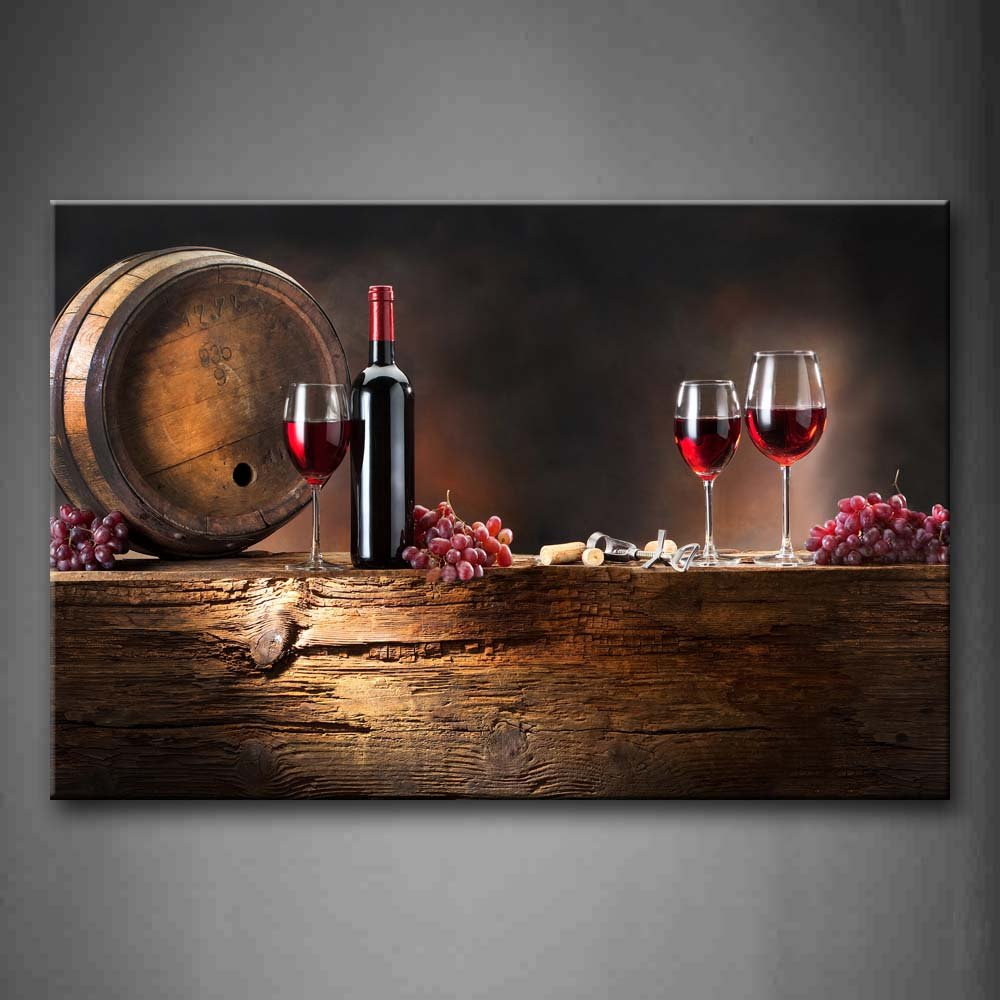 Brown Wine With Grapes And Barrel. Wall Art Painting On Canvas For Home  Decor