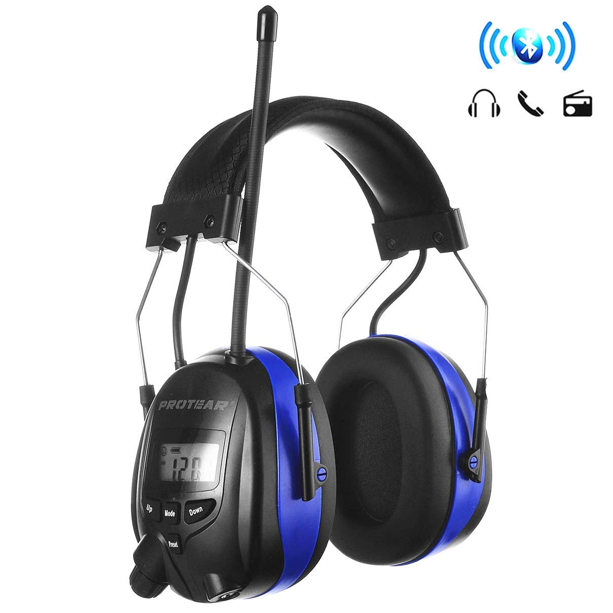 PROTEAR Bluetooth Hearing Protection Radio Headphones, AM/FM Digital Headset, NRR 25dB Electronic Noise Reduction Safety Ear Muffs for Working Mowing Construction(Blue)
