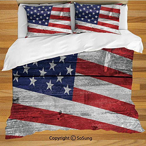 - Rustic American USA Flag Queen Size Bedding Duvet Cover Set,July Independence Day Commonwealth Country Emblem Patriotism Wooden Plank Looking Decorative 3 Piece Bedding Set with 2 Pillow Shams,