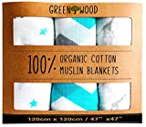 Muslin Swaddle Blankets - 100% Organic Cotton - 3 Pack 47'' x 47'' Ultrasoft and Hypoallergenic - Best Baby Shower Gift (Blue and Grey)