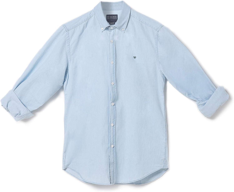 SILBON - Camisa Sport Denim Azul Claro para Hombre: Amazon.es ...
