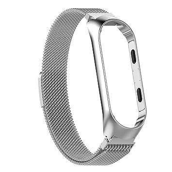 Lomire Correa de Reloj Inteligente de Pulsera de Repuesto de Metal Acero Inoxidable de Pulsera Ajustable para Xiaomi MI Band 3,Plata: Amazon.es: Deportes y ...