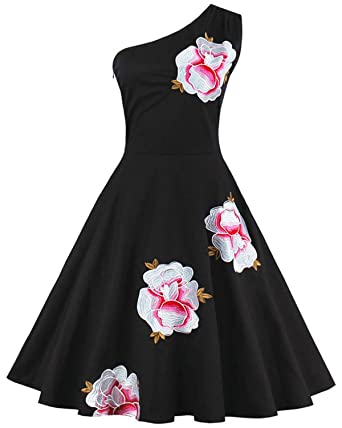 ZAFUL Women Vintage One Shoulder Floral Picnic Dress Cocktail Party Dress Black(S,Black