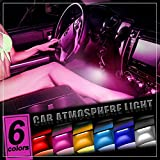 Thunder® 4pcs DC 12V Car Interior LED Light Underdash Lighting Kit - Auto Decorative Atmosphere Neon Lights, With Brightness Regulator Features for All Vehicles - Single Color Pink