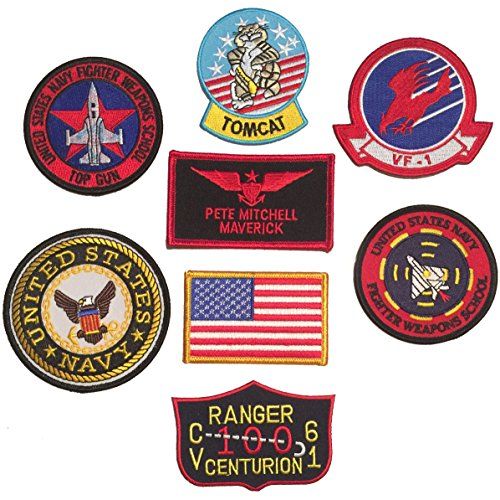 Top Gun Jacket Patches (Patch Squad Men's Iron On US Navy Top Gun Fighter Tactics 8pc Patch Set (Pete Mitchell)