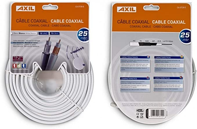 Engel Axil CA0728E - Cable coaxial (25 Metros), Blanco: Amazon.es ...