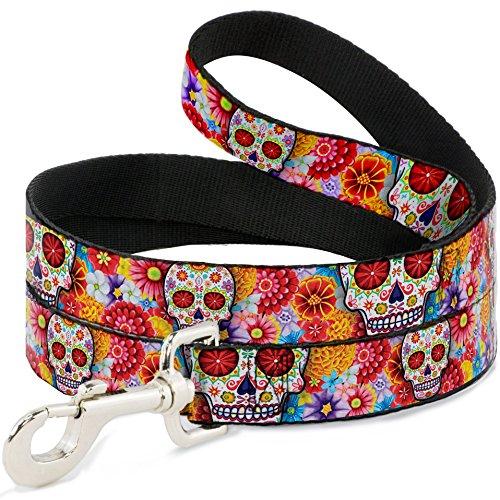 Buckle-Down Pet Leash - Sugar Skull Starburst White/Multi Color - 4 Feet Long - 1
