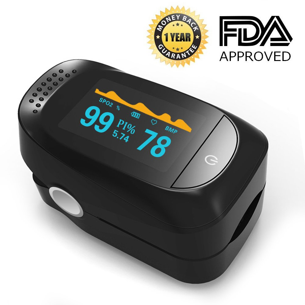 Pulse Oximeter, Finger Portable FDA Approved Digital Blood Oxygen and Pulse Sensor Meter with Alarm SPO2 For Adults and Children (High-end models)