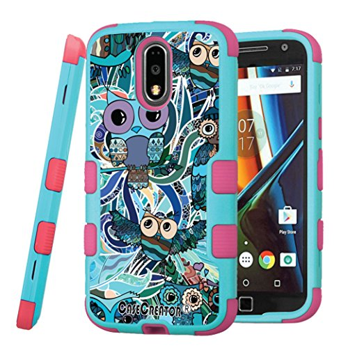 Moto G4 Plus Case, CASECREATOR[TM] For Motorola Moto G4 Plus / XT1644 ()~NATURAL TUFF Hybrid Rubber Hard Case Pink Teal Blue-owls