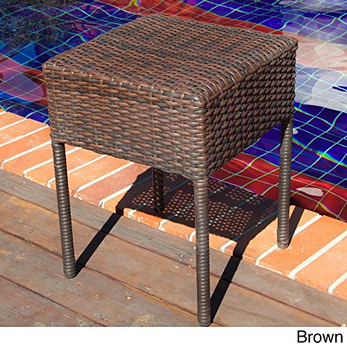 Sadie Wicker Outdoor Accent Table Brown