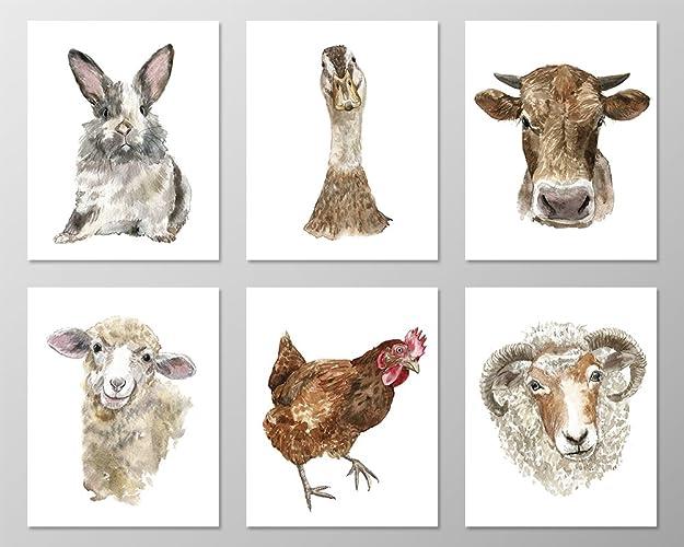 farm animal prints a070 set of 6 animal art prints 8x10 - Kids Animal Prints