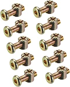 uxcell M6 x 70mm Furniture Bolts Nut Set Hex Socket Screw with Barrel Nuts Phillips-Slotted Zinc Plated 10 Sets