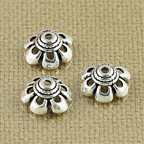 Luoyi Antique Silver Flower Bead Caps, 6-petal, 10mm, Hole: 1.2mm (Thai Sterling Silver Flower)