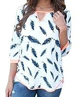FEITONG mujeres top Casual Suelto Media manga ciruela Árbol Camisa Blusa