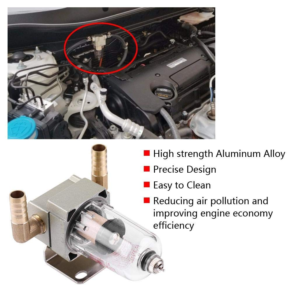 10.5mm 0.4in Acouto Engine Oil Catch Tank Breathable,Aluminum Alloy Oil Catch Can Breather