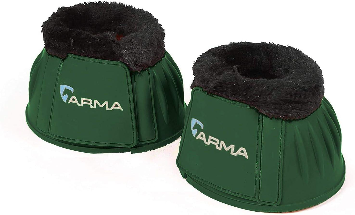 Shires Over Reach//Fleece Trim boots-134F Green black fur Cob