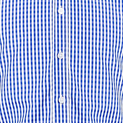 DOKKIA Men's Formal Business Plaid Checkered Button Down Long Sleeve Dress Shirts