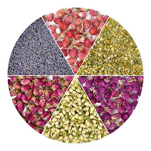 HAIOPS Dried Flowers Soap Making Scents Kits Food-Grade Rosebuds, Lavender, Jasmine, Chamomile, Gomphrena Globosa Linn, Red Globe Amaranth, 6 Bags